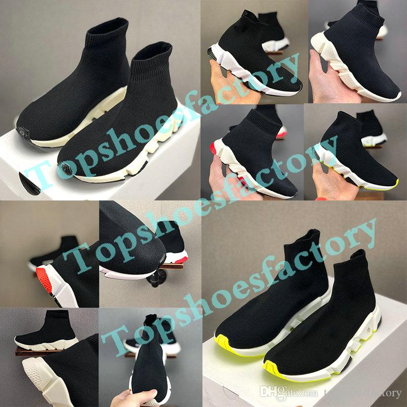 Balenciaga Kid Sock shoes Luxury Brand الأزياء والأحذية الطفل الاطفال الجوارب أحذية الأطفال الانزلاق على عارضة شقق سرعة مدرب حذاء رياضة بوي فتاة عالية أعل ل 24-36