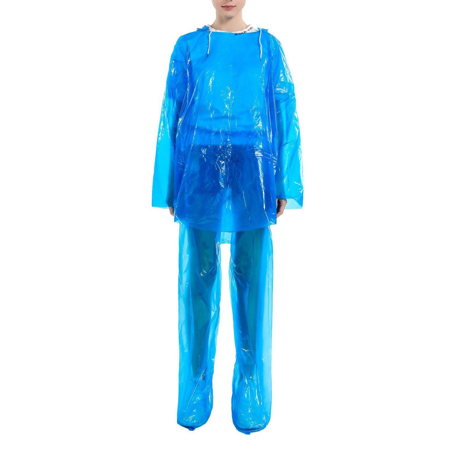 Mode Einmaliger Raincoat Hot Wegwerf-PET Einweg-Regenmäntel Poncho Regen Reise-Regen-Mantel Regen-Bekleidung Füße Zweiteilige Großhandel FY6044