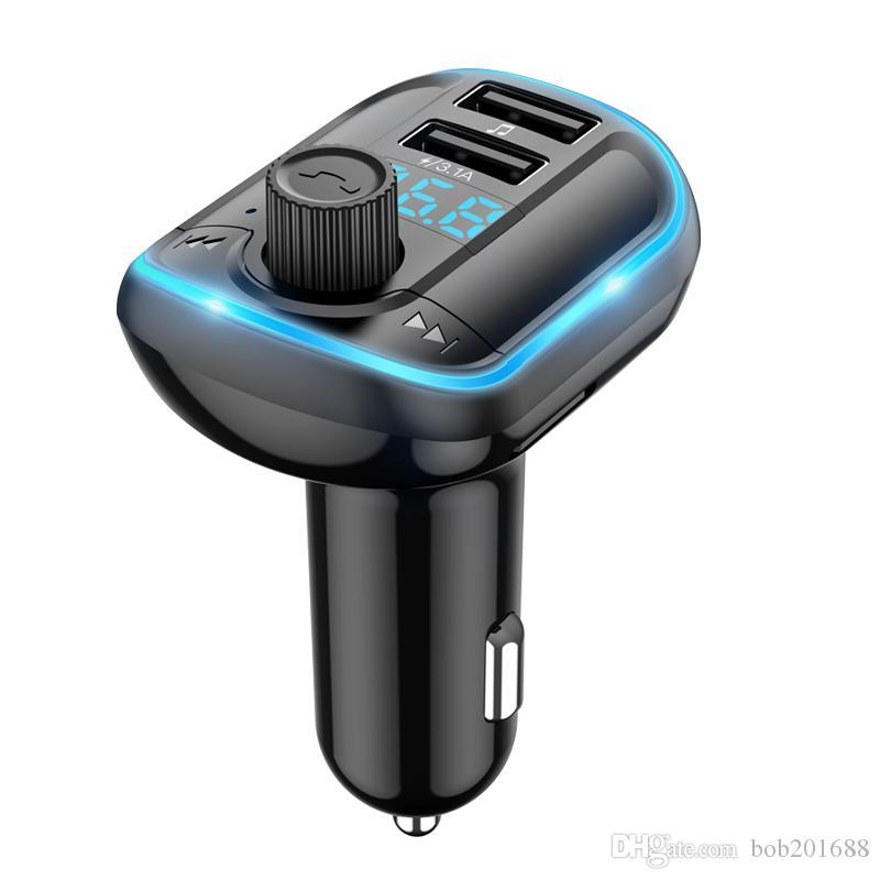 USB à double chargeur de voiture Transmetteur FM Lecteur MP3 Bluetooth avec réponse Téléphone LED Atmosphère t829s Lumière