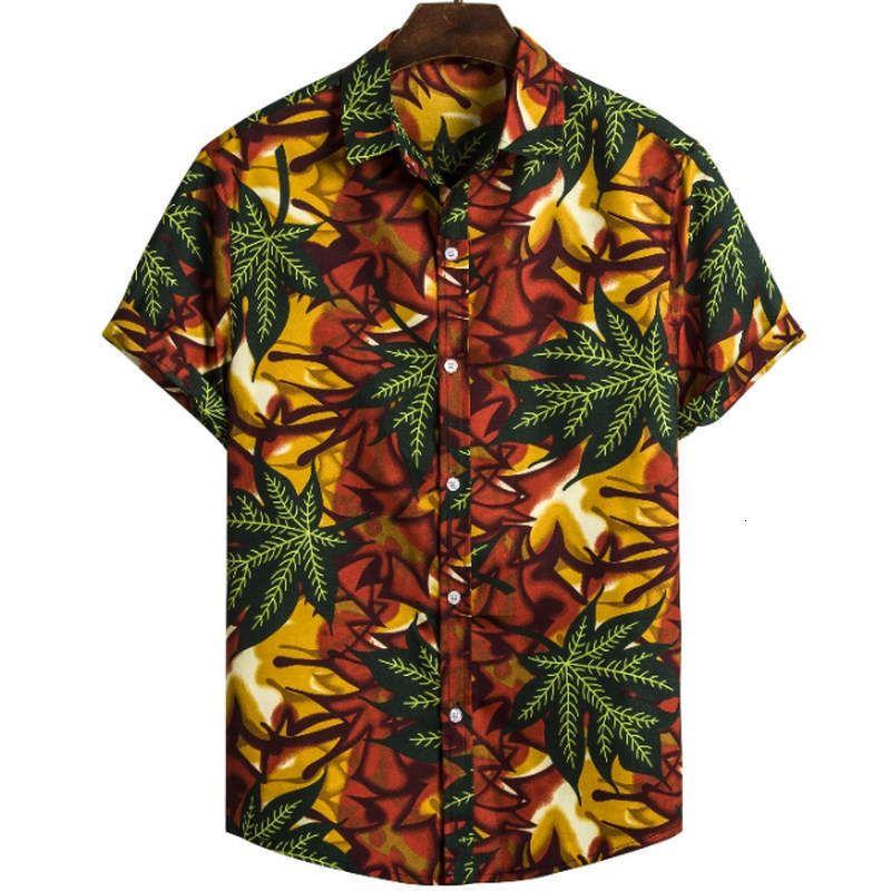 2019 Erkekler Clothes Geometrik Renkler, Kısa Kol Gömlek ve Yakalar