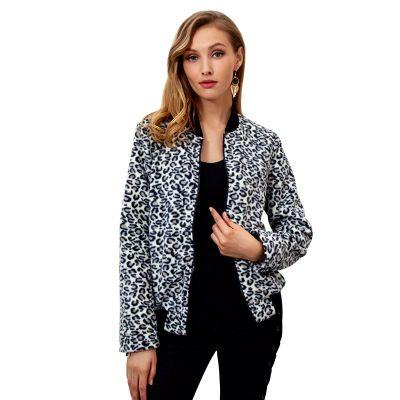 Le donne Contrasto Leopard Print Jacket Zipper Moda Slim signore manicotto lungo Giubbotti per la donna casuale Outwear Perfetto per il pendolarismo