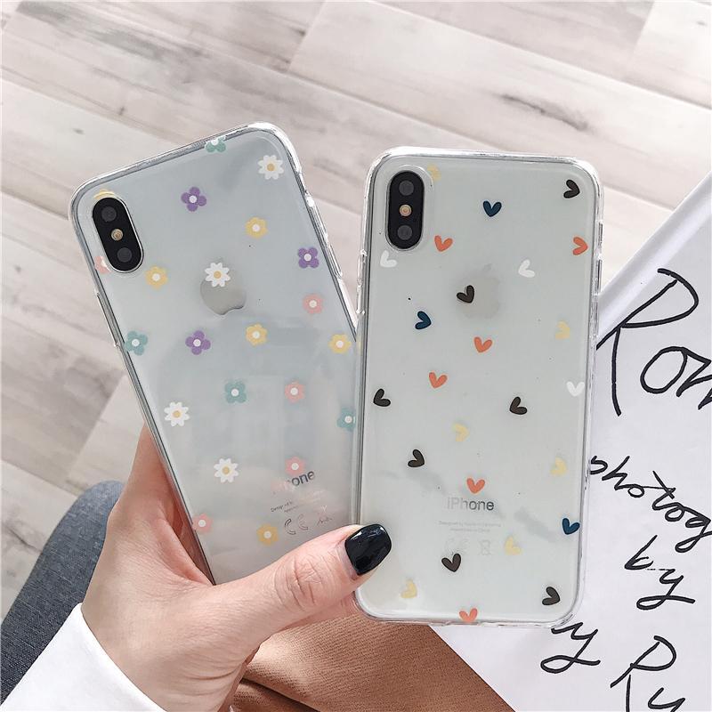 Macio Limpar Phone Cases Para iphonephone 11 Pro SE2020 X Coração XS Max XR 6S 7 8 Plus amor floral transparente Silicon tampa traseira