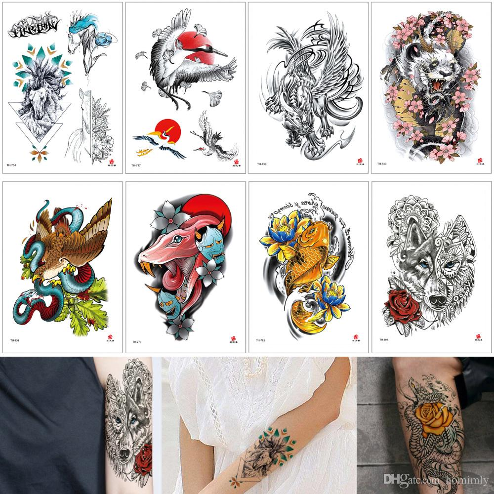 Animal Tattoo Sticker Waterproof Temporary Design Eagle Wolf Snake Fish Whale Decal For Body Art Transfer Tattoo Paper Arm Leg Summer Makeup Gold And Silver Tattoos Long Lasting Temporary Tattoo From Homimly