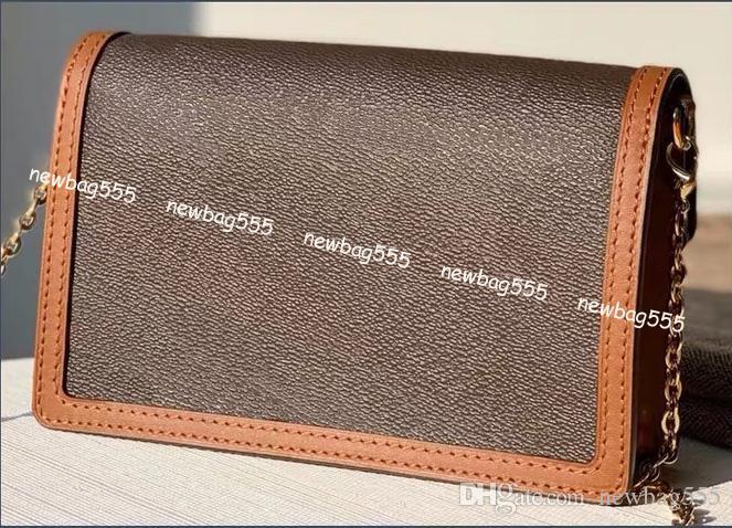 68476 Hombro Cadena de reversa WOC Bolsa de WOC Cuero Geniune Bolsa de Crossbody Mini Imprimir Dauphine Bolsos Favorito Embragues Monederos Vintage Wallet WOM QGAC