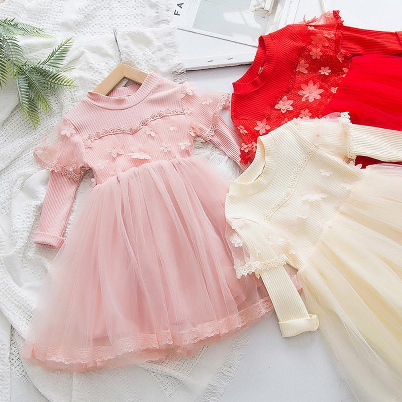 DFXD цветочные девушки платье принцессы 2020 Весна с длинным рукавом Детская одежда дети кружевное платье день рождения одежда Детская одежда 2-7 Т T200229