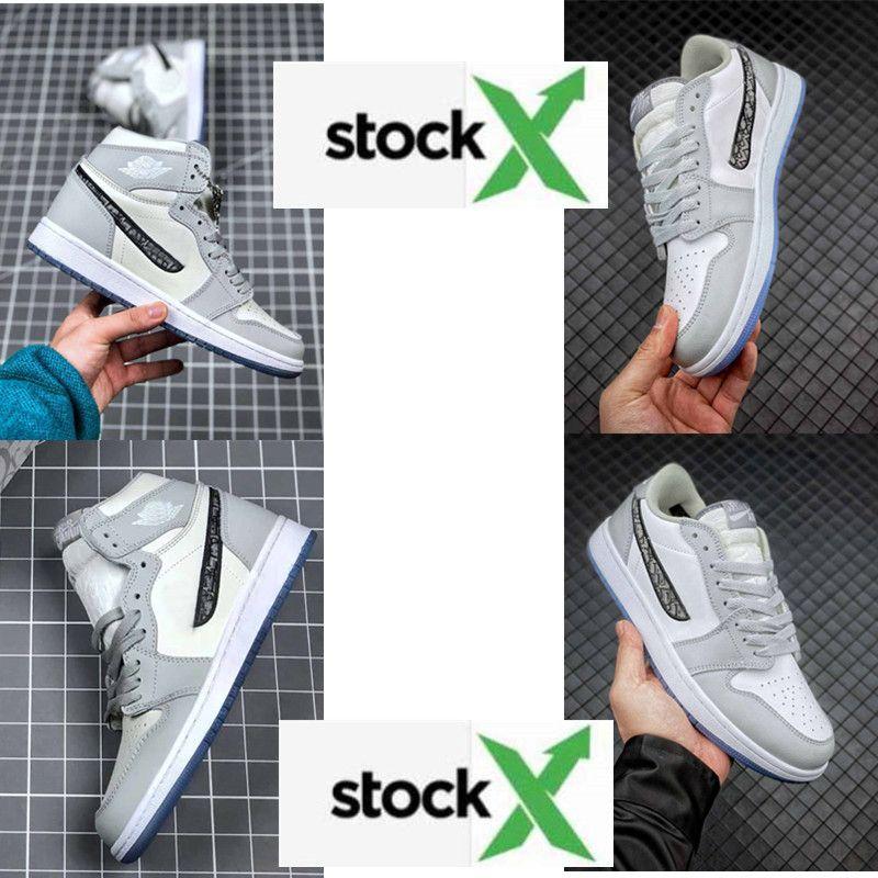 Yüksek OG GreyAJ1 1 yüksek OG basketbol ayakkabıları Kraliyet siyah Burun çam yeşil siyah mahkeme mor beyaz UNC Patent erkekler kadınlar tasarımcı spor ayakkabıları 36-45