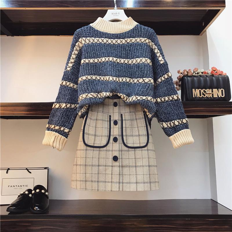 Large Size Womens 2019 Early Autumn New Fat Sister ai yang Gas Net Red Set by Age Sweater Autumn Two-Piece Set