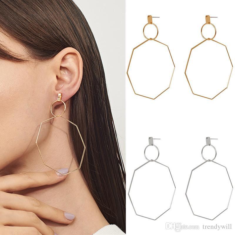 Moda creativa Circle Octagon goccia ciondola gli orecchini Donna Accessori Oro Argento Geometria festa di nozze gioielli da regalo
