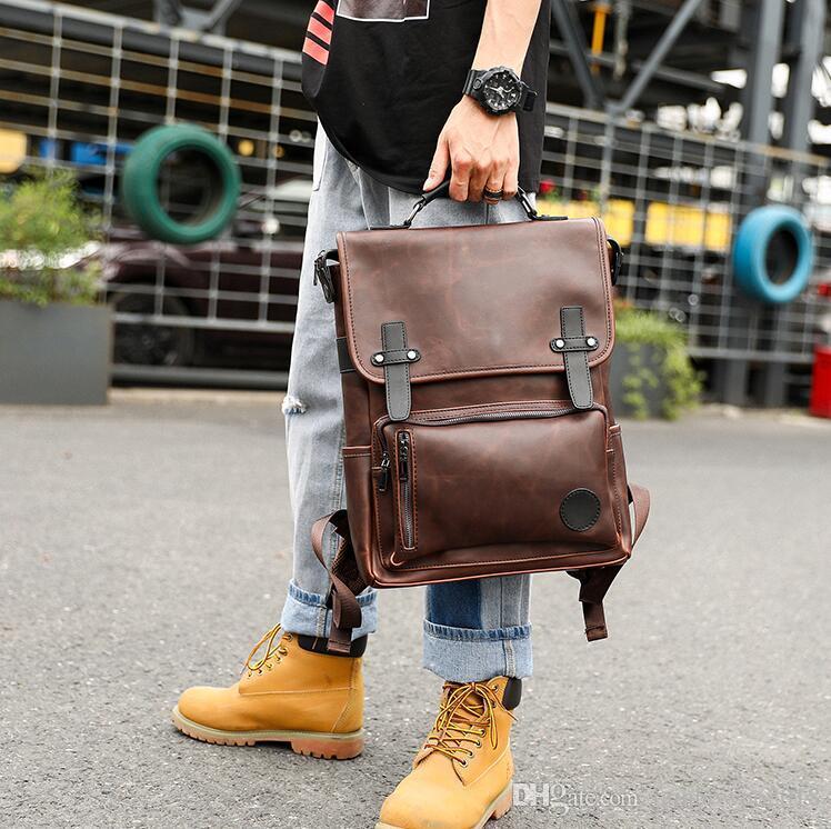 wholesale men handbag street trend contrast leather backpack retro flip men backpack outdoor travel leisure shoulder bag fashion backpack