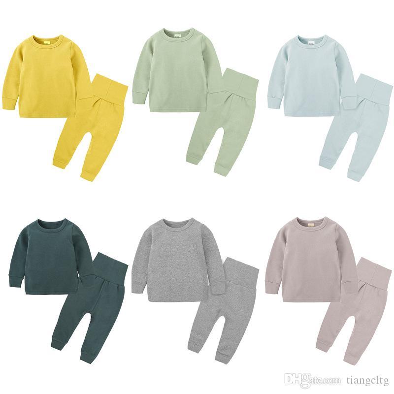 Для девочек Для мальчиков Пижамы Одежда наборы 6 Designs Твердые Вершины Дети Одежда Девочки Эластичный пояс Брюки 3М-легкий костюм с шортами 7T 04