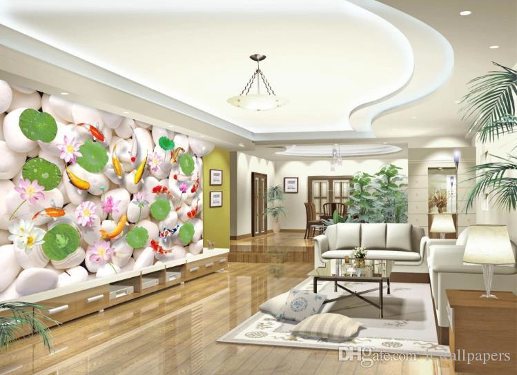 Foto wallpaper 3d blanco guijarro carpa 3d fondo pared mural comedor sala de estar sofá tv mostrador pared