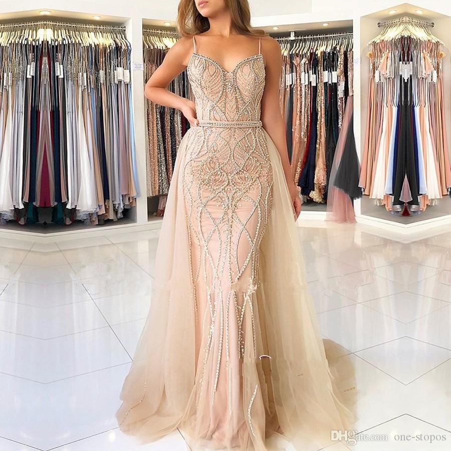 Luxury Champagne Spaghetti Mermaid Prom Dress Vintage Shinny Beaded Eening Dresses With Detachable Train Long Formal Party Pageant Gown