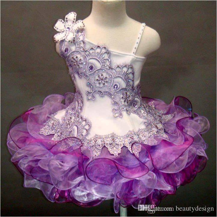 nuovo sfarzo Una spalla di pizzo perline fatti a mano fiore organza ball gown cupcake toddler bambine pageant abiti flower girls per matrimoni