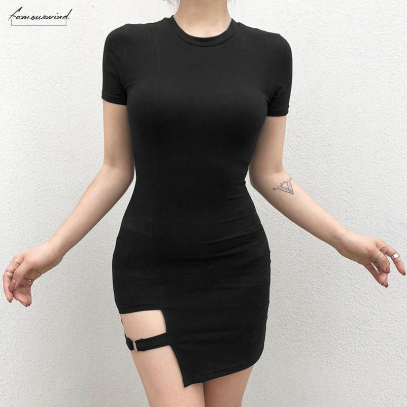 Harajuku Siyah Elbiseler Kadın Yaz Kısa Kollu Seksi Hollow Out Metal İnce Yüzük Mini Elbise Gotik Kız Tasarımcı Giyim