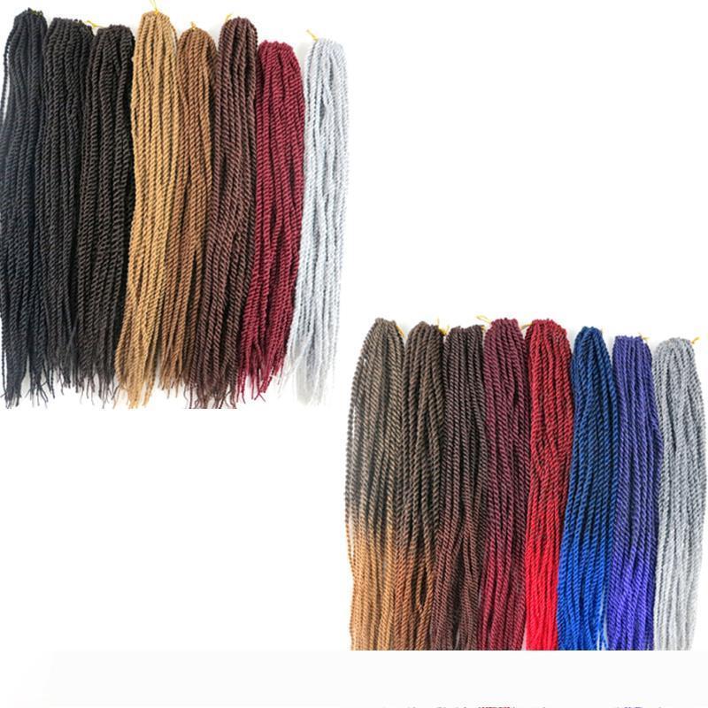 Kanekalon 합성 크로 셰 뜨개질 머리띠 머리 2X 세네갈은 스트레이트 머리 조각 22 인치 100G 털 헤어 확장에 더 많은 색상 트위스트