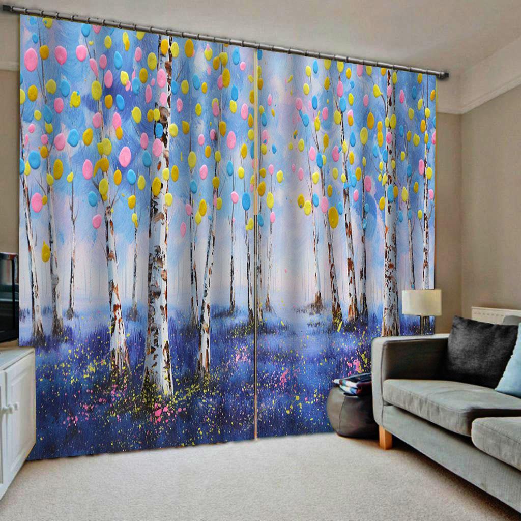 3d Rideaux bleu peinture forêt nouvelle fenêtre balcon pare-brise épais rideaux blackout