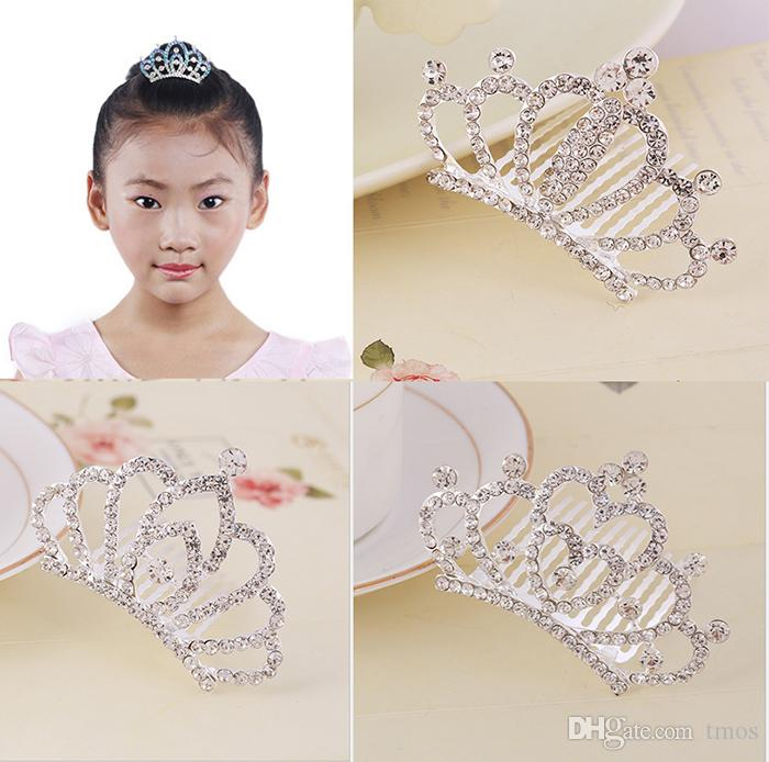 Wholesale Girls Head Accessories Crystal Rhinestone Crown Heart Crown Pageant Beautiful Silver Color Children Tiaras Hair Comb Headband
