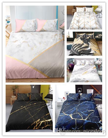 Moda moderna Mable pedra padrão impressão conjuntos de cama com fronhas 2/3 pcs