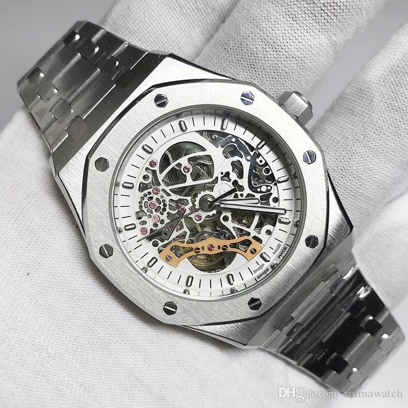 6 tipos Real Doble Equilibrio del rotor esqueleto roble espalda abierta deslizan acero inoxidable de los relojes automáticos suave Negro Dial 15407 relojes de pulsera