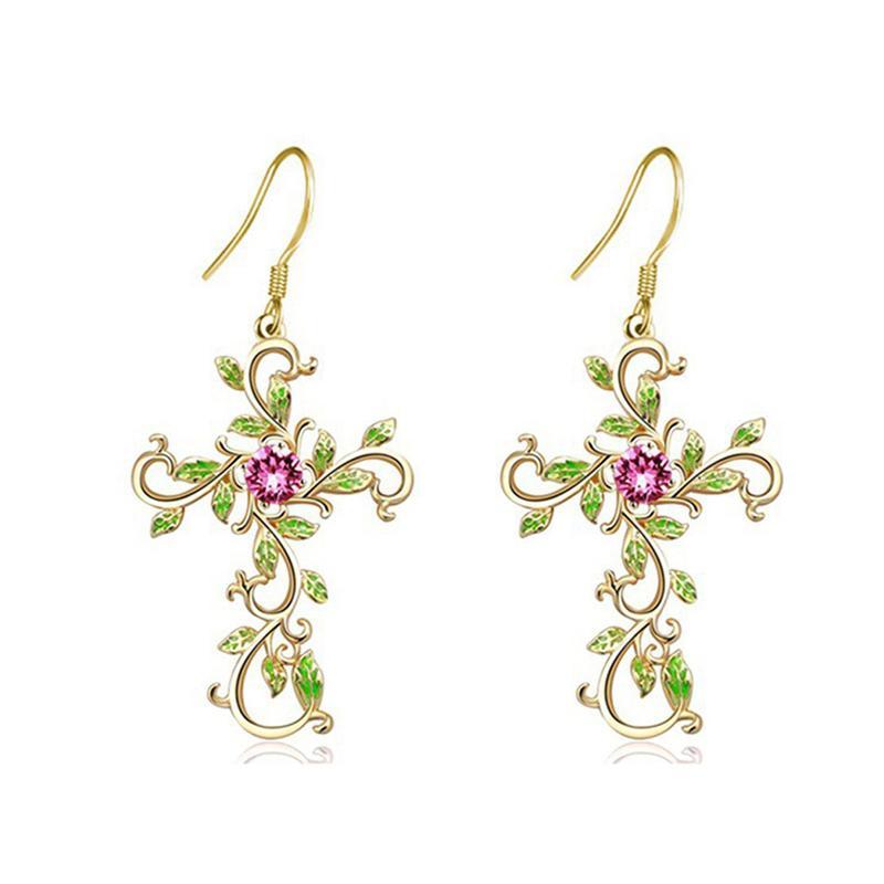 Gott vertrauen wir Kreuz baumeln Ohrringe für Frauen Damenmode Rose Gold Farbe plattiert Rosa Zircon Blätter Ohrringe Schmuck-Geschenke
