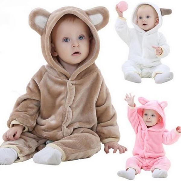 Bebê flanela Quente Pijamas doce cor com capuz Zipper bedgown inverno dos miúdos Pajamsa Meninas dos desenhos animados Macacão de Bebé Roupa WY696