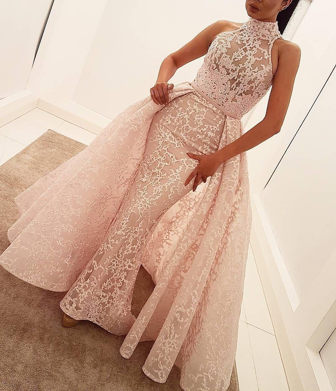 Русалка вечерние платья с юбкой без рукавов розовые кружевные аппликации высокая шея формальные вечерние платья театрализованное знаменитость арабское платье выпускного вечера