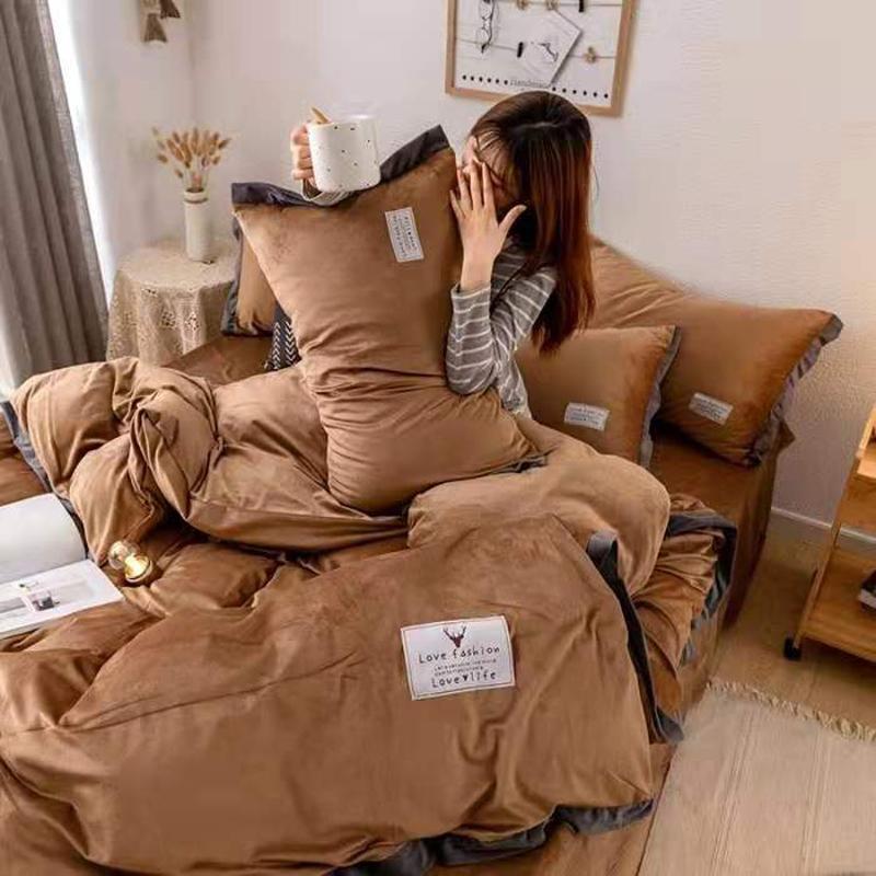 Luxury Crystal Velvet Bedding Set Velvet Duvet Cover Bed Sheet 4pcs/set Winter Bed Linen King Queen Size Velvet Home Textile