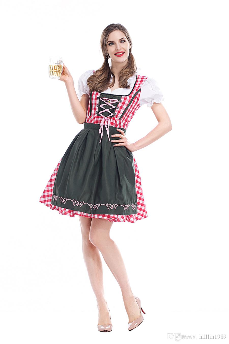 Grade Imprimir Bavarian Maid Cosplay alemão Oktoberfest Beergirl Fancy Dress cerveja Menina Outfits Carnaval Mardi Gras Waitress Uniforme