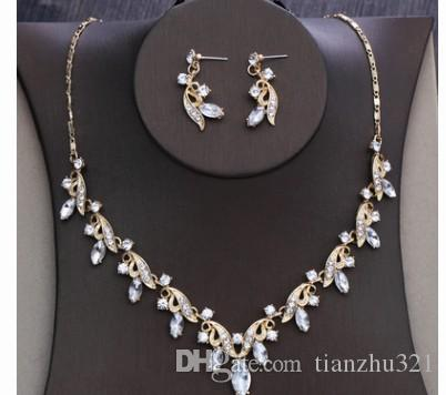wonderful low price high quality diamond crystal wedding bride lady's necklace earings set 25rt