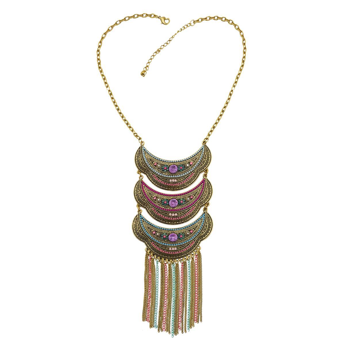 خمر نمط الذهب مع حجر الراين الخرز الملونة بيان الشرابة القلائد للمجوهرات حزب النساء