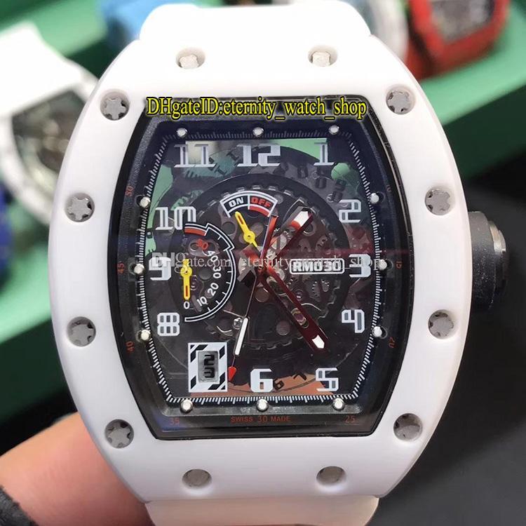 R Üst versiyon RM 030 SERAMİK Beyaz Seramik Vaka İskelet Büyük tarihi Japonya Miyota Otomatik RM030 Erkek İzle Kauçuk Spor Tasarımcı Saatler Dial