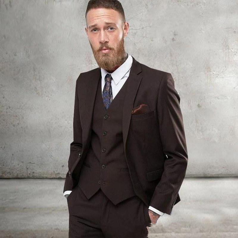 Новые две кнопки Groomsmen Нотч Groom Tuxedos 3 шт Мужские костюмы Свадебная / Prom Best Man Blazer (куртка + брюки + жилет + Tie) 405