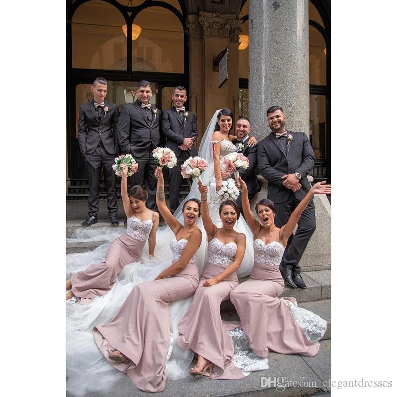 2020 Spaghetti Strips Mermaid Long Bridesmaids Dresses Lace Appliques Slim Honor Of Maid Custom Vestidos De Bridemaid Cheap Formal