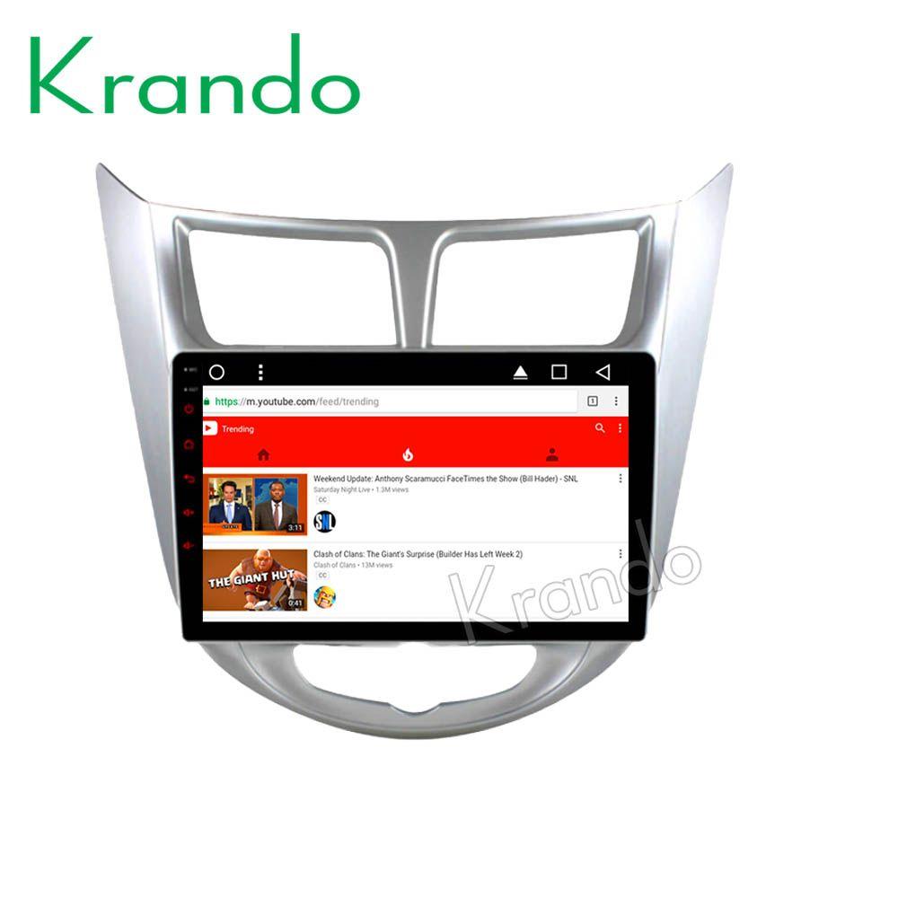"""Krando Android 8.1 9 """"Tam Dokunmatik araba multimedya sistemi hyundai accent verna 2011-2017 için araba radyo gps navigasyon wifi BT araba DVD"""