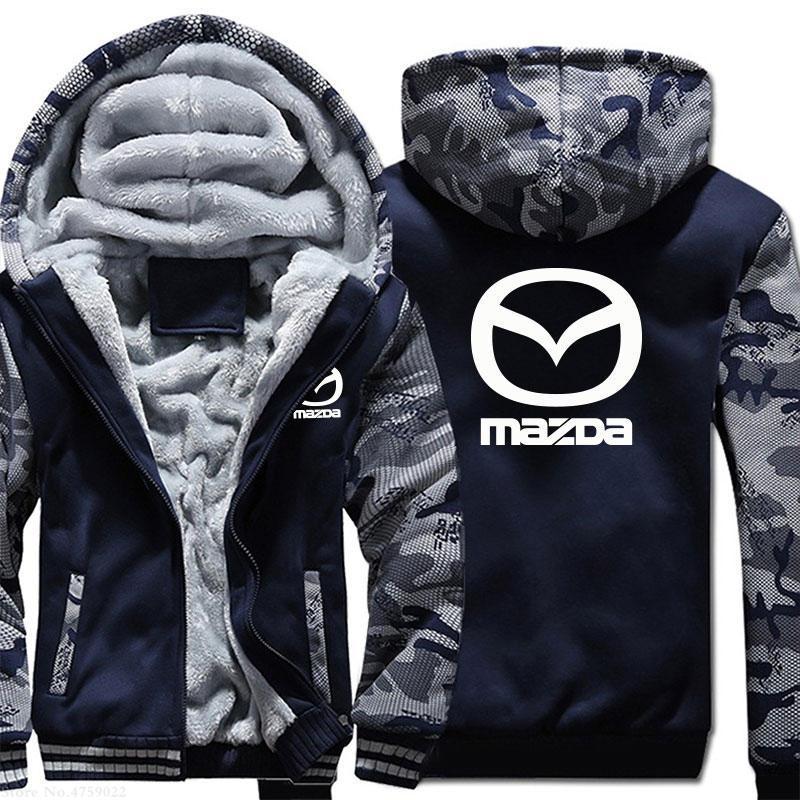 Mazda Hoodie Камуфляж Coat Зима сгущает ватки хлопка пальто Кашемир Hoodie Zipper куртка теплая фуфайка Спортивная EU Размер