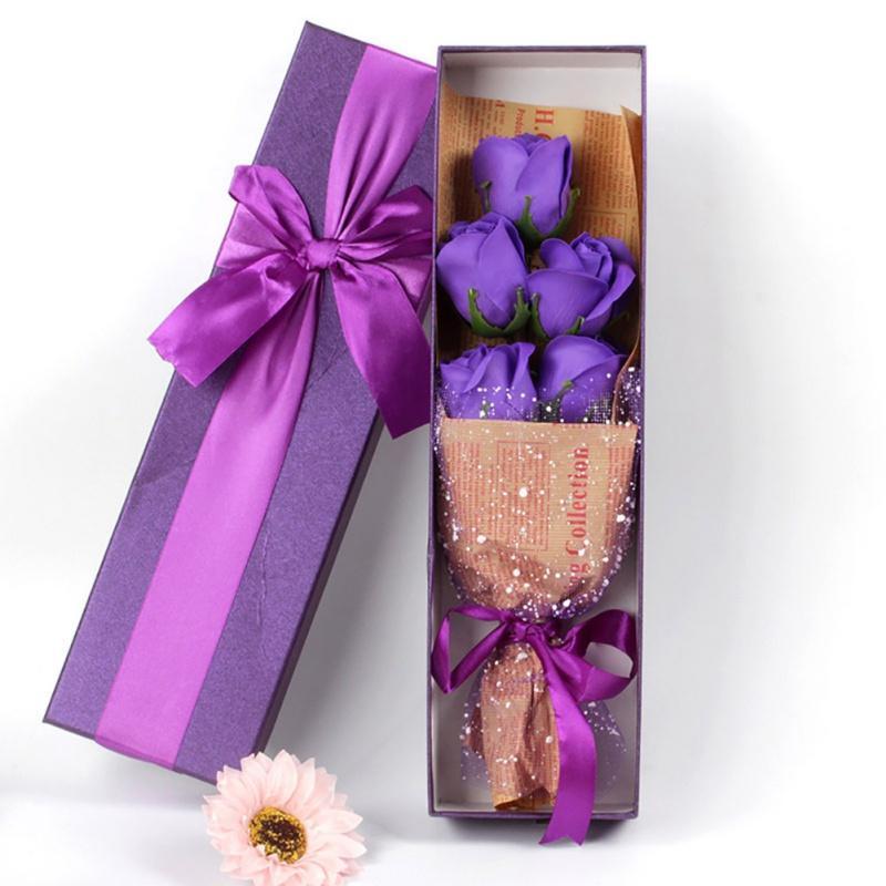 Cumpleaños del día de San Valentín regalo del día 5PCS Jabón Rose Romatic artificial ramo de flores de jabón ramo del rosa caja de regalo de la madre