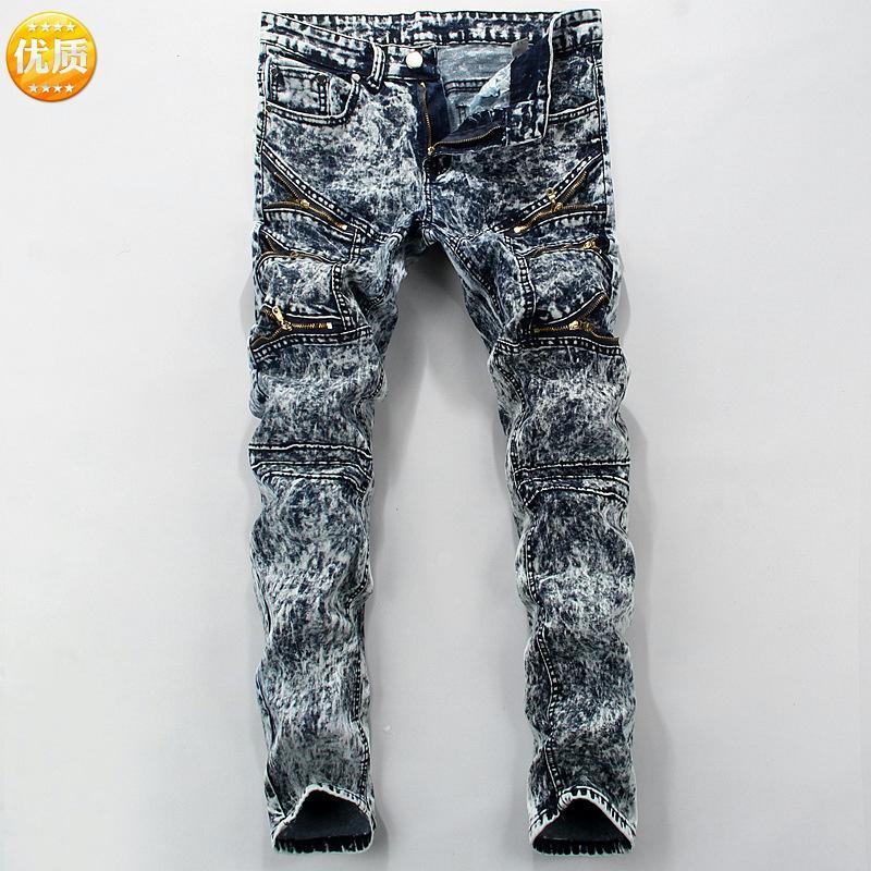 2020 Новые Джинсовый Wash Узких джинсов с молнией