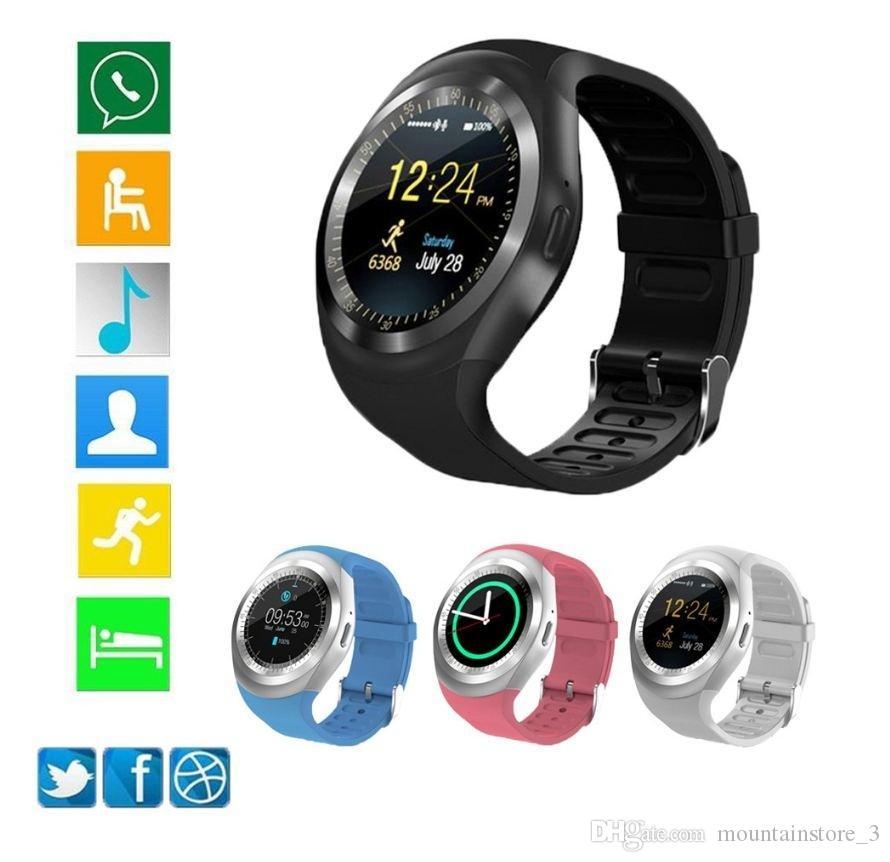 Bluetooth Y1 Smart Watch Relogio Android SmartWatch appel téléphonique GSM Sim caméra à distance informations d'affichage podomètre sport (détail)