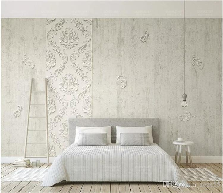 Wood Texture Embossed Parget Damask Flower 3d Wallpaper Mural for Bedroom Photo 3D Flower Mural Wall paper Wall Stickers