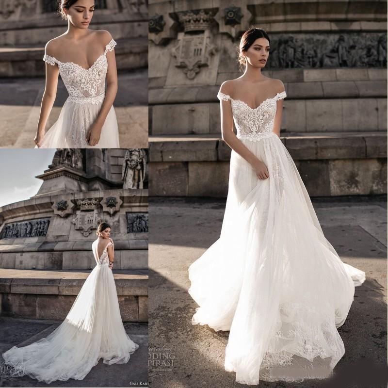Gali Karten vestidos de novia Sheer Bohemia Fuera de la ilusión del cordón del hombro Tulle de la blusa de barrido tren vestidos de novia sin espalda