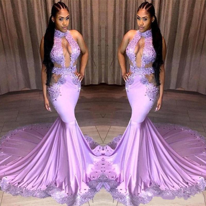 Frente abierto atractivo de la sirena vestidos de baile lavanda cabestro Partido Applqiues cordón del cuello Ropa formal más el tamaño de vestidos de noche largo