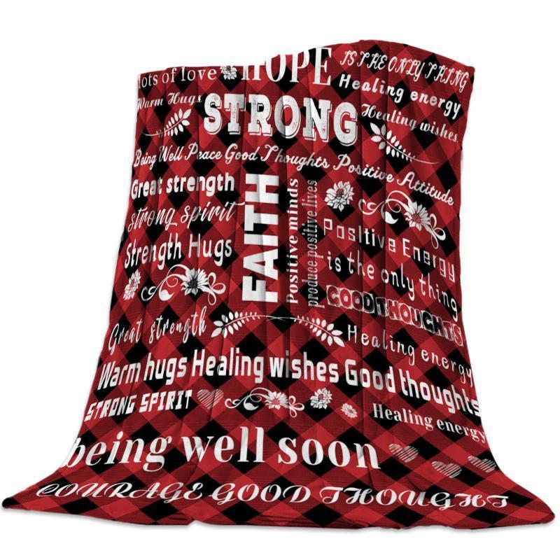Positive Energie Rot Schwarz Grid Decke Schlafsofa Decke Kid Erwachsene Warm für Betten Coral Fleece-Material