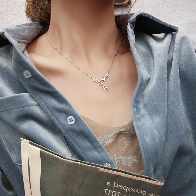 S925 серебро Листья ключицы цепи женщин японских и корейских стиль Творческая индивидуальность Минималистский стиль Мори-Style-Style Наплыв Ne