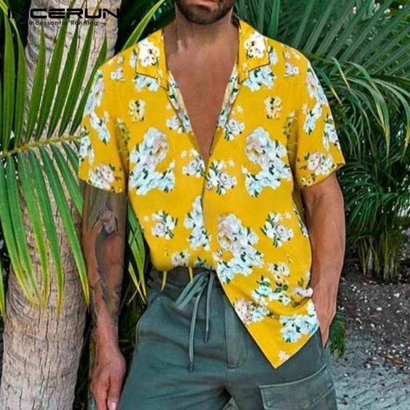 Men Short Sleeve Lapel Brand Blouse Flower Printed Shirts Hawaiian Summer Breathable Casual Hombre Fashion Blusas INCERUN 3XL 7