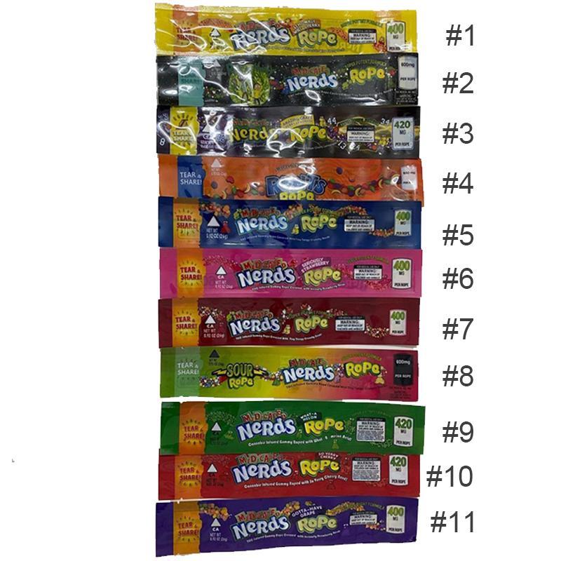 Medicato Nerds corda Svuotare Gummy Packaging borse Mylar bag bordo di tenuta Tre 50mg 60 minuti stagnola Imballaggio per gli alimentari