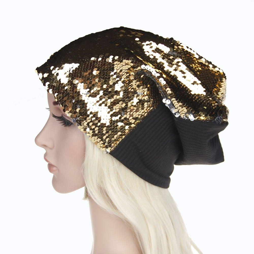 Fashion caps Women Men shiny Sequins Knit Crochet Hat Braided Turban beanie Caps hats for women