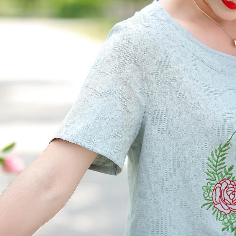 y dos piezas de set top amplio señora de mediana edad y la ropa de la camiseta de l algodón de las mujeres de algodón 8EE2S Noble juego de la ropa de verano de la madre de la moda LWjNq