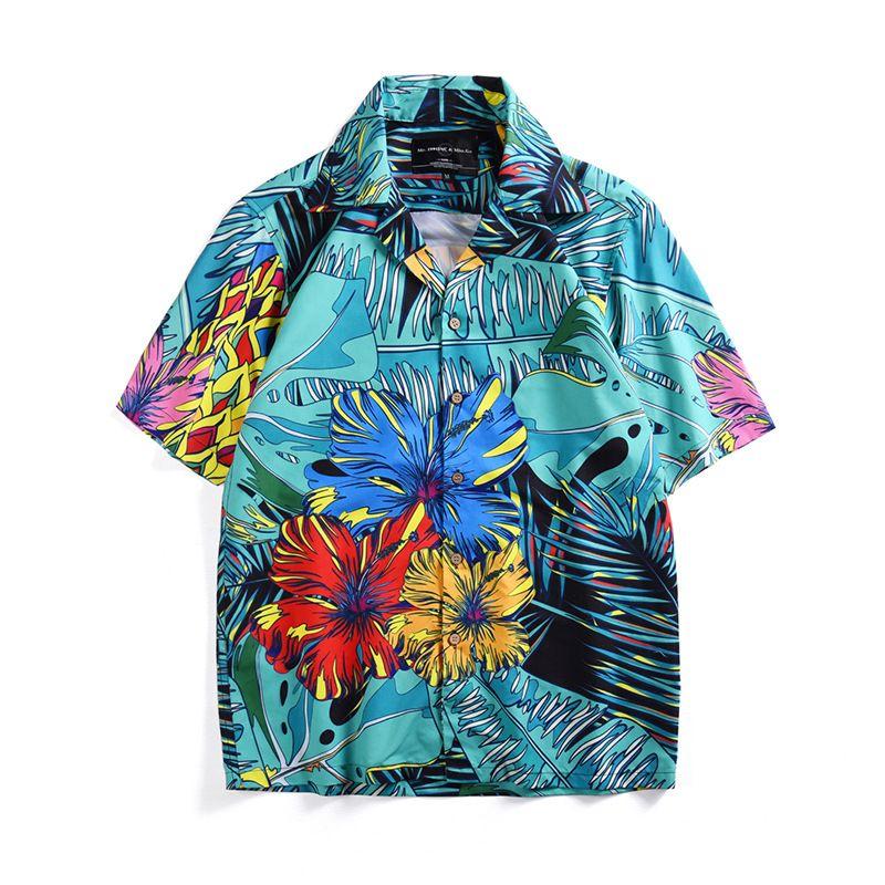 US 2019 Men/'s Summer Casual Floral Plaid Short Sleeve Lapel Shirts T-Shirt Tops