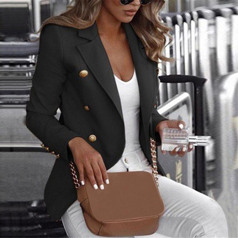 여성 캐주얼 버튼 슬림핏 블레이저 코트 긴 소매 정장 재킷 코트 자켓 Outwears 최고 봄 의류