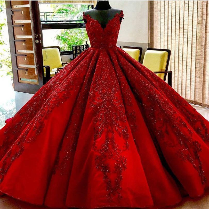 Compre únicos Vestidos De Novia De Color Rojo Vestido De Bola Volantes Con Exquisitos Abalorios Cuello En V Longitud Del Piso Más El Tamaño De La Boda